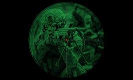 Tireur isolé pendant la délivrance d'otage d'opération de nuit vue par le Ni Images stock