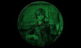 Tireur isolé pendant la délivrance d'otage d'opération de nuit vue par le Ni Photographie stock