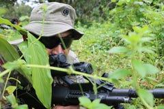 Tireur isolé se cachant dans les buissons photo libre de droits
