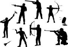 Tireurschattenbilder in den verschiedenen Haltungen Stockfoto