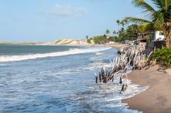 Tiri ad alta marea, Pititinga, natale (il Brasile) Fotografia Stock Libera da Diritti