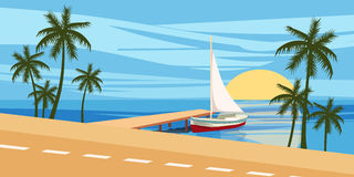 Tiri, contro il contesto di una vista sul mare, la navigazione dell'yacht, palme Fotografia Stock