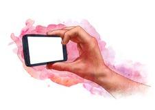 Tiri di foto maschii della mano, tenendo lo smartphone dello schermo in bianco o macchina fotografica, schizzo Immagini Stock Libere da Diritti