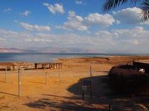 tiri e la costa del mar Morto Israele e la costa della Giordania Fotografia Stock