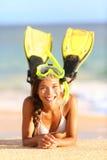 Tiri il divertimento in secco navigante usando una presa d'aria della donna di vacanza di festa Fotografia Stock Libera da Diritti