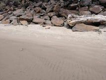 Tiri il mucchio in secco dei massi e del legname galleggiante con la sabbia della spiaggia nella priorità alta alla costa dell'Or fotografia stock