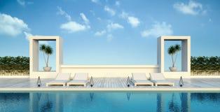 Tiri il salotto e la vista in secco panoramica del mare alla rappresentazione di lusso di /3d della villa illustrazione di stock