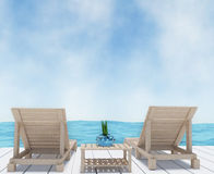 Tiri il salotto in secco sulla vacanza del seaview nella rappresentazione 3D Immagine Stock Libera da Diritti