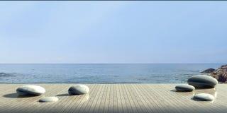 Tiri la pietra in secco di lusso del salotto e moderno sulla vista del mare Immagine Stock
