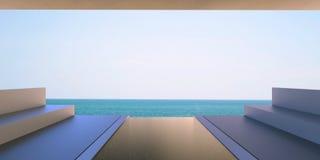Tiri la radura in secco del salotto - terrazzo moderno con la vista del cielo e del mare/minimo illustrazione di stock