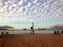 Tiri la visualizzazione in secco sulle navi nel porto marittimo Fotografia Stock Libera da Diritti