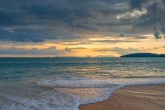 Tiring blue clouds over the sea at sunset in Thailand. Beautiful seascape Royalty Free Stock Photography