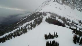 Tiro aéreo asombroso del paisaje 4k del invierno de los picos de montaña de piedra y del bosque nevoso almacen de metraje de vídeo