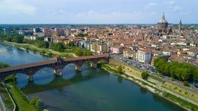 Tiro aéreo com o zangão em Pavia Imagem de Stock Royalty Free
