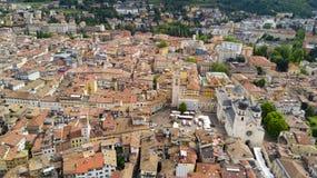 Tiro aéreo com o zangão em Trento Fotografia de Stock Royalty Free