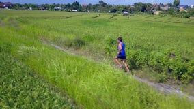 Tiro aéreo con el abejón que sigue al hombre apto del corredor de los jóvenes en el escurrimiento de entrenamiento del camino en  metrajes