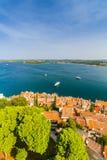 Tiro aéreo da cidade velha Rovinj, Istria, Croácia fotografia de stock royalty free