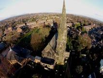 Tiro aéreo da igreja metodista de Bramscote fotos de stock