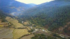 Tiro aéreo da paisagem em Butão do leste vídeos de arquivo
