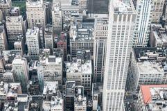 Tiro aéreo de construções de New York City Fotografia de Stock