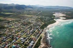 Tiro aéreo de Franskraal, Suráfrica Imagen de archivo libre de regalías