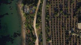 Tiro aéreo de la costa de mar con los árboles verdes y del camino a lo largo de la costa, Grecia metrajes