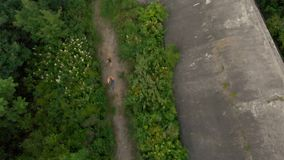 Tiro aéreo de uma jovem mulher e de seu filho que correm no território de uma primeira fortaleza velha da guerra mundial durante  video estoque