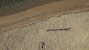 Tiro aéreo del abejón de cogida del hombre cuando el tirar ha terminado almacen de metraje de vídeo