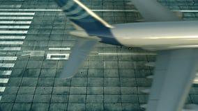 Tiro aéreo del aterrizaje de aeroplano comercial grande en la pista del aeropuerto libre illustration