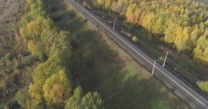 Tiro aéreo del ferrocarril entre los árboles del otoño en bosque en octubre Imágenes de archivo libres de regalías