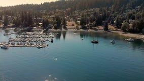 Tiro aéreo del puerto deportivo situado en la ensenada profunda, Vancouver del norte, Canadá metrajes