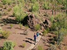 Tiro aéreo do movimento lento de caminhantes do deserto em Dusty Trail longo filme