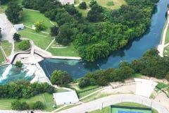 Tiro aéreo do rio Comal em Texas Fotografia de Stock