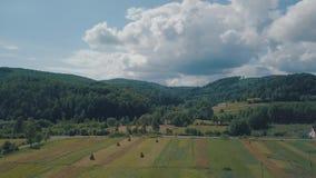 Tiro aéreo do zangão perto do dia ensolarado da temporada de verão da paisagem da montanha vídeos de arquivo