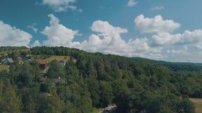 Tiro aéreo do zangão perto do dia ensolarado da temporada de verão da paisagem da montanha filme