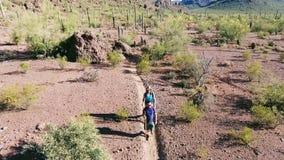 Tiro aéreo dos caminhantes no deserto do sudoeste video estoque