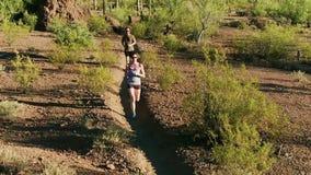 Tiro aéreo dos corredores da fuga no deserto do Arizona Sonoran cercado por Saguaros filme