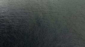 Tiro aéreo Filón de piedra volcánico en las aguas del océano Las ondas lo golpearon para formar una espuma blanca Carro tirado en almacen de video
