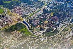 Tiro aéreo sobre Rissne Sundbyberg Fotografia de Stock Royalty Free