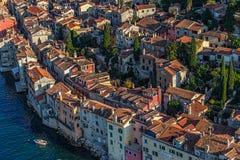 Tiro aereo di Rovigno, Croazia fotografia stock libera da diritti