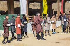 Tiro al arco en Bhután Imagen de archivo libre de regalías