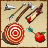 Tiro al arco fijado y herramientas para el cazador libre illustration