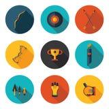 Tiro al arco plano de los iconos imagen de archivo libre de regalías
