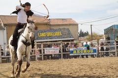 Tiro all'arco su a cavallo Fotografia Stock