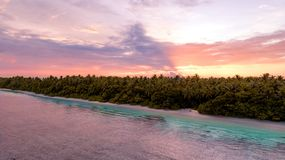 Tiro ancho aéreo de una playa con los árboles al lado del mar en Maldivas durante puesta del sol imagen de archivo libre de regalías