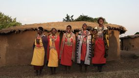 Tiro ancho de un grupo de mujeres del maasai que cantan metrajes