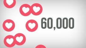 Tiro animado de 100.000 gustos que son contados con los corazones que golpean pesadamente en una página social de los medios víde ilustración del vector