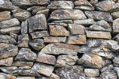 Tiro anteriore della parete di pietra della muratura senza gesso come campione di struttura fotografia stock libera da diritti