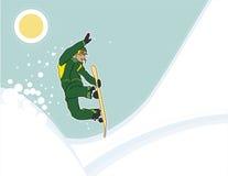 Tiro arial del Snowboarder Foto de archivo libre de regalías