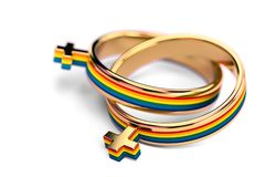 Tiro ascendente cercano en dos anillos de bodas femeninos lesbianos en el fondo blanco Los matrimonios lesbianos publican concept libre illustration